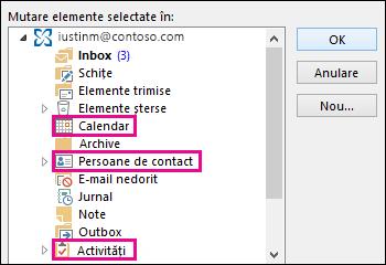 Selectați un folder pentru a muta alte tipuri de elemente