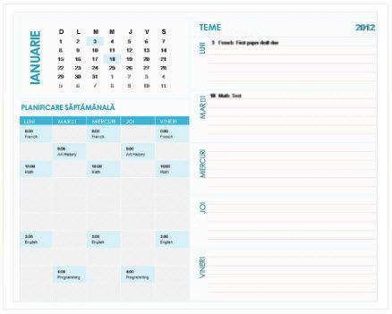 Șablon de calendar de planificare săptămânal pentru elevi și studenți (Excel)