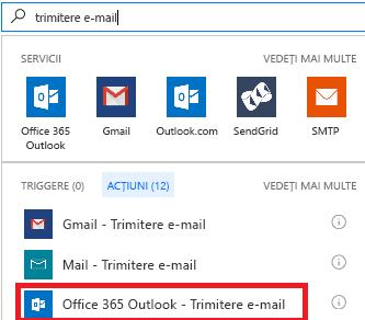 Captură de ecran: Selectați acțiunea: Office 365 Outlook - trimiterea unui e-mail