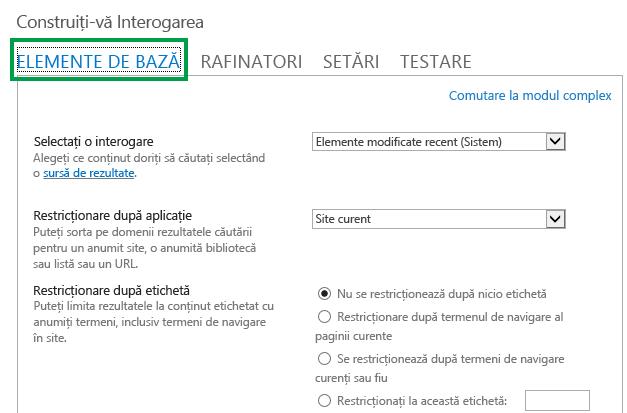 Fila ELEMENTE DE BAZĂ la configurarea interogării într-o parte web de căutare de conținut