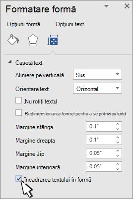 Panoul formatare formă cu încadrare text selectată