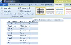 Stiluri de tabel