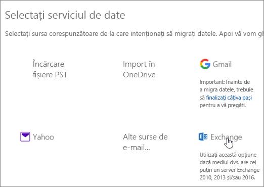 Pe pagina Migrare, selectați Exchange ca serviciu de date