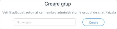 Captură de ecran: Introduceți numele pentru a crea un nou grup Kaizala