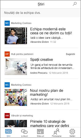 Captură de ecran cu Știri de echipă agregate