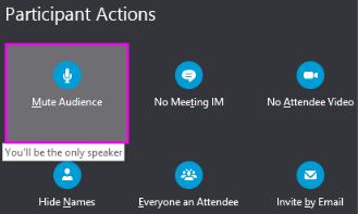 Meniul acțiuni participanți cu Dezactivare sunet public evidențiată