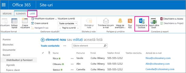 Alegeți Conectare cu Outlook pentru a sincroniza lista de persoane de contact cu Outlook