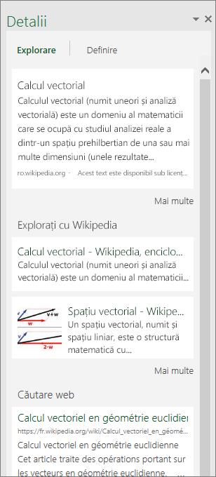 Panoul Detalii din Excel 2016 pentru Windows