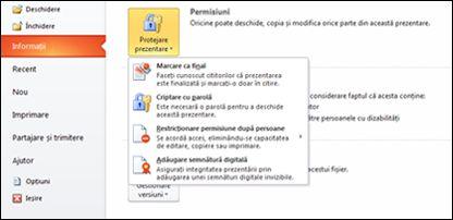 Butonul Protejare prezentare cu opțiuni