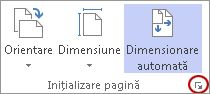 Lansator de casetă de dialog Inițializare pagină