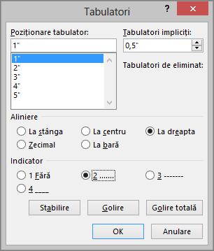 Se afișează opțiunile din caseta de dialog Tabulatori.