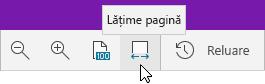 Afișează opțiunile de zoom, având selectată opțiunea Lățime pagină