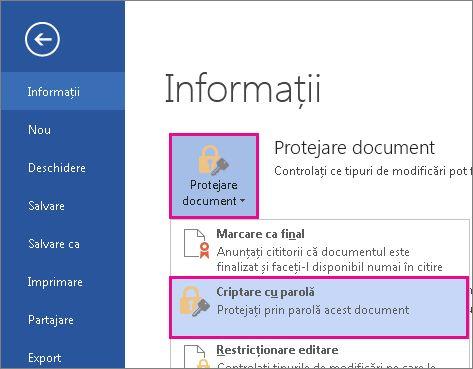 Protejarea prin parolă a documentului