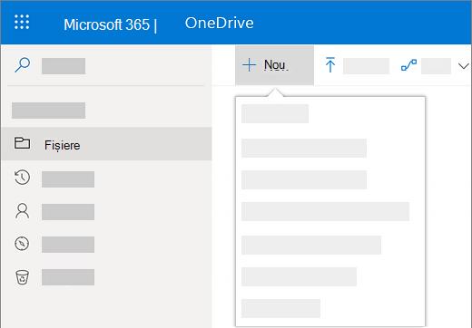 Captură de ecran cu selectarea meniului Nou, pentru a crea un document nou în OneDrive pentru business