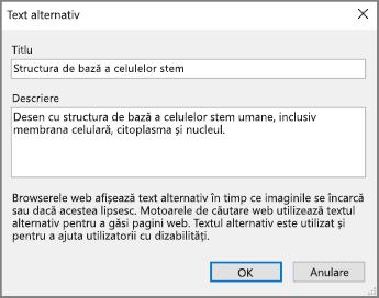 Captură de ecran a casetei de dialog Text alternativ din OneNote cu exemple de text în câmpurile Titlu și Descriere.
