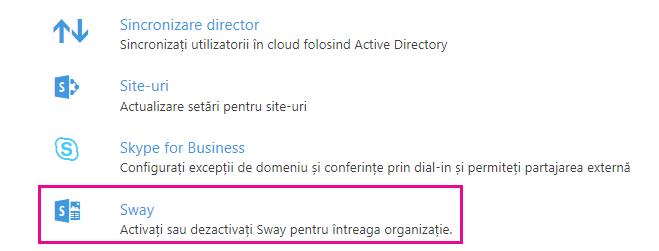 """Defilați în jos în ecranul """"Servicii și programe de completare"""" și faceți clic pe Sway."""