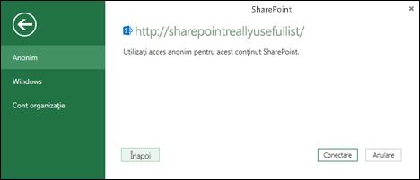 Excel Power Query conectarea la o casetă de dialog conectare de listă Sharepoint
