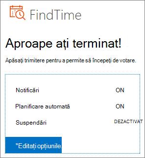 Editarea opțiunilor prin e-mail