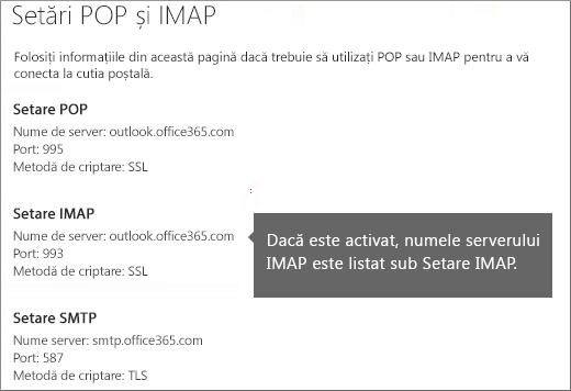 Afișează linkul pentru setările de acces POP sau IMAP