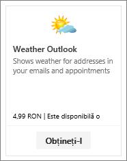 Captură de ecran a programului de completare Meteo Outlook, disponibil în versiunea de încercare gratuită sau contra cost.