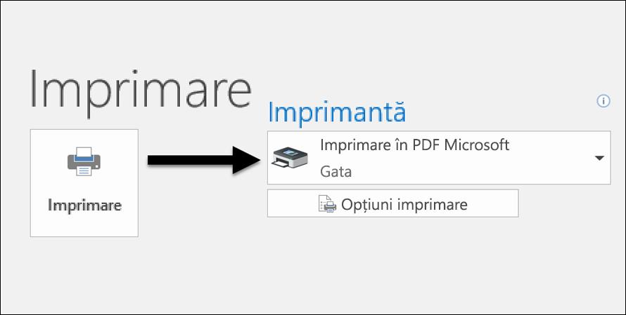 Utilizați comanda Imprimare pentru a imprima un mesaj de e-mail într-un fișier PDF.
