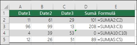 Excel afișează o eroare atunci când o formulă nu se potrivește cu modelul formulelor adiacente
