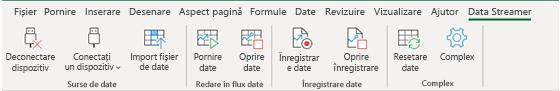 Afișează panglica Data Streamer cu opțiunile de deconectare și conectare a dispozitivului activate