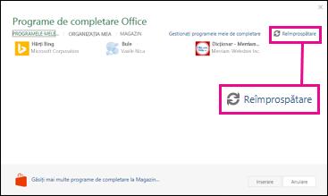 Butonul de reîmprospătare programe de completare Office