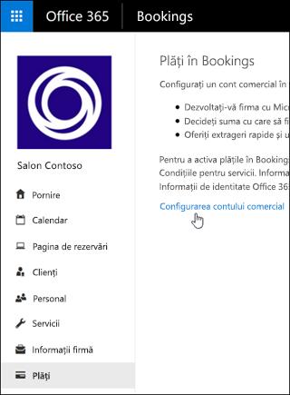 Captură de ecran: Selectați să configurați un cont comerciale și să gestionați plăți în rezervările