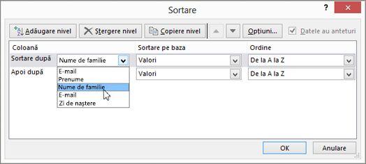 Sub Colană, faceți clic pe Sortare după, apoi alegeți o opțiune