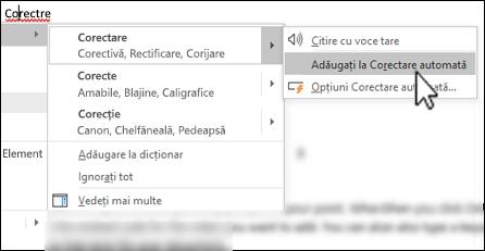Meniul contextual al editorului sub un cuvânt ortografiat greșit cu opțiunea Adăugați la Corectare automată evidențiată
