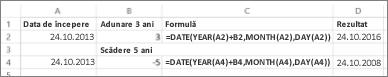 Exemple pentru adăugarea și scăderea datelor