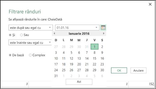 Suportul pentru Selector dată pentru valorile de intrare de Dată din casetele de dialog Filtrare rânduri și Coloane condiționale din Excel Power BI
