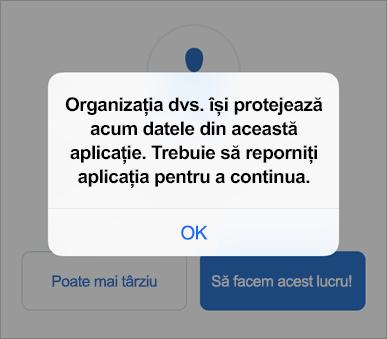 Captură de ecran care arată că organizația dvs. protejează acum aplicația Outlook