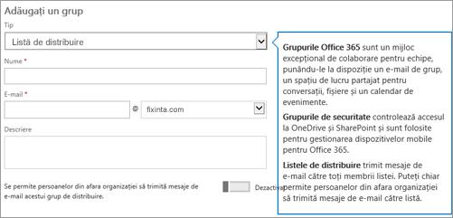 Adăugarea unei pagini de grup - alegeți verticală și alegeți listă de distribuire