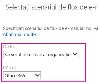 Alegeți din serverul de e-mail al Organizației la Office 365
