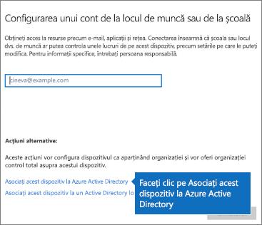 Faceți clic pe Asociați acest dispozitiv la Azure Active Directory