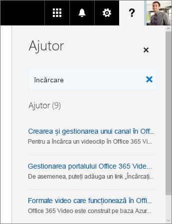 Captură de ecran a panoului Ajutor din Office 365 Video, afișând rezultatele de căutare pentru Încărcare.