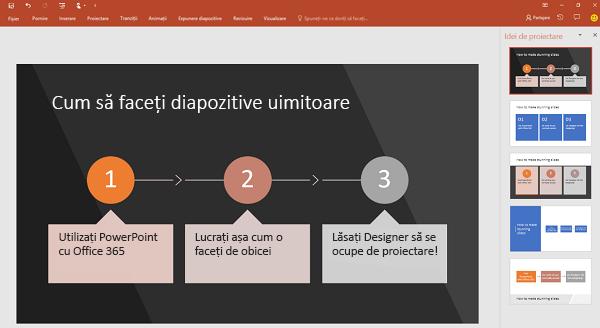 PowerPoint Designer transformă textul orientat spre proces într-un element grafic.