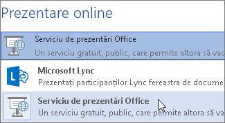Prezentare online utilizând Serviciul de prezentări Office