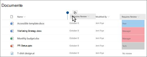 O bibliotecă de documente în vizualizarea modernă SharePoint Online, afișând o coloană glisată dintr-o poziție în alta