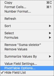 Opțiuni PivotTable în meniul contextual din Excel pentru Mac.