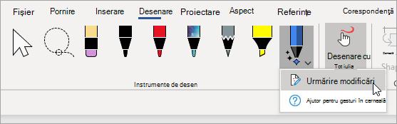 Selectați urmărire modificări pentru creionul pentru editor cerneală.