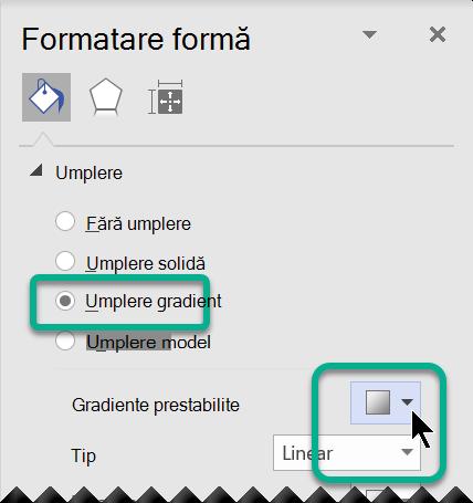 Opțiuni de gradient prestabilite pentru formele din Visio.