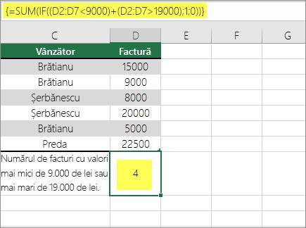 Exemplul 2: SUM și IF imbricate într-o formulă