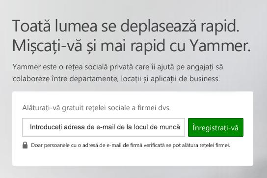 Ecranul de conectare Yammer