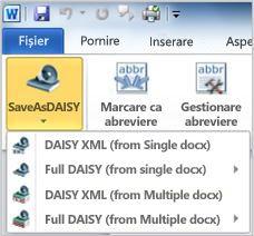 Butonul Save as Daisy în meniul vertical