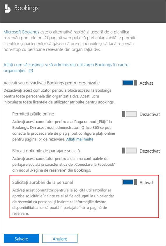 Captură de ecran: Selectați această opțiune pentru a solicita aprobare utilizator înainte ca acestea pot fi adăugate la o pagină de rezervare