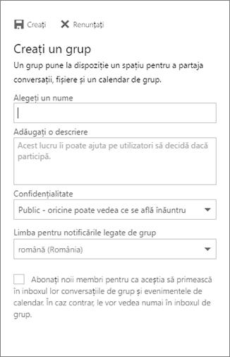 Crearea unui grup în Calendar pentru Outlook pe web pentru firme
