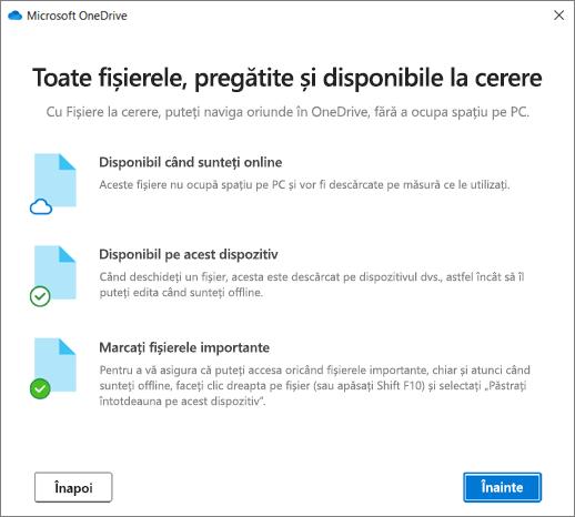 Ecranul fișiere de la cerere din Expertul bun venit la OneDrive